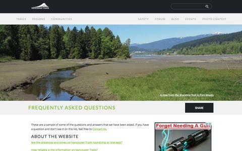 Screenshot of FAQ Page vancouvertrails.com - FAQ | Vancouver Trails - captured Sept. 3, 2016