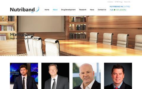 Screenshot of Team Page nutriband.com - Management | Nutriband - captured Oct. 19, 2018