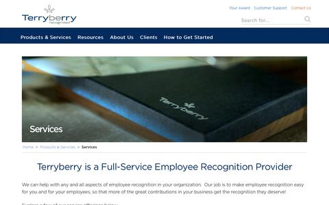 Screenshot of Services Page terryberry.com - Employee Recognition Program Management & Support - captured Oct. 18, 2017