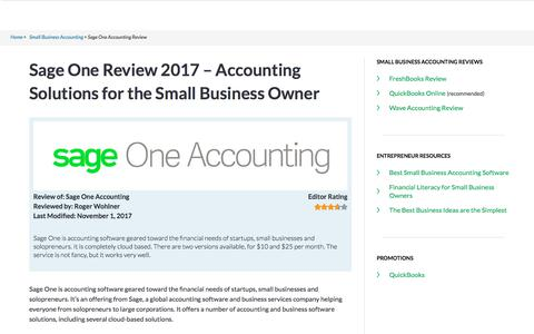 Sage One Review 2017 | Small Business Accounting Solutions