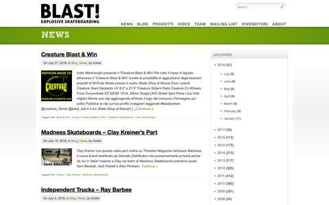 Screenshot of Press Page blast-distribution.it - Blast! distribution - distribuzione e vendita all'ingrosso di skateboard, longboard, cruiser, protezioni, abbigliamento e accessori -   News - captured Aug. 2, 2018