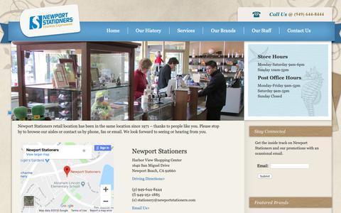 Screenshot of Contact Page newportstationers.com - Newport Stationers - captured Oct. 20, 2018