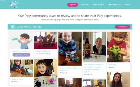 Screenshot of Testimonials Page pley.com - Pley reviews |  Pley | Rent the coolest toys including LEGO®, American Girl and other amazing toys - captured Feb. 13, 2016