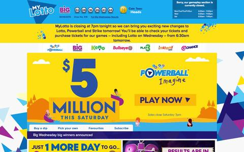 Screenshot of Home Page Login Page mylotto.co.nz - Official Lotto, Bullseye, Keno & Play 3 Results & Tickets | Lotto NZ » MyLotto - captured Oct. 2, 2015