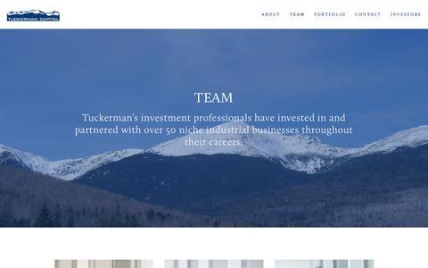 Screenshot of Team Page tuckermancapital.com - Team — Tuckerman Capital - captured Sept. 21, 2018