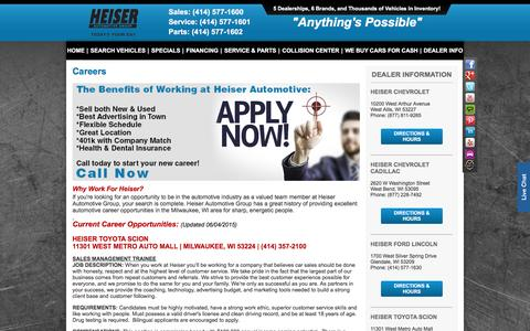 Screenshot of Jobs Page heiser.com - Careers | Heiser Auto Group - captured Nov. 6, 2016