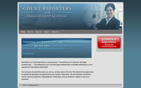 Screenshot of Home Page courtreporters.com captured June 14, 2016