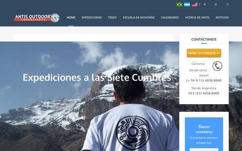 Screenshot of Home Page antisoutdoor.com.ar - Aventura y montañismo en Argentina y el mundo. Bienvenidos! - captured July 23, 2016