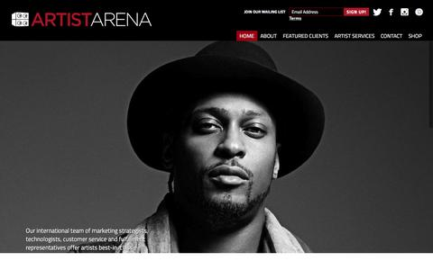 Screenshot of Home Page artistarena.com - Artist Arena Official Website: The Global Expert for Direct-to-Fan Strategy and e-Commerce. - captured Dec. 26, 2015