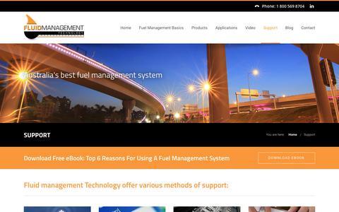 Screenshot of Support Page fluidmt.com - Fuel Management System Support | Fluid Management Technology - captured Oct. 14, 2017