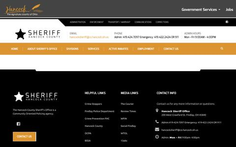 Screenshot of Services Page hancocksheriff.org - Services – Sheriff - captured Oct. 22, 2016