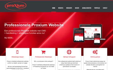 Screenshot of Home Page proxium.nl - Professionele websites, webshops en webdiensten uit Assen | Proxium - captured March 4, 2016