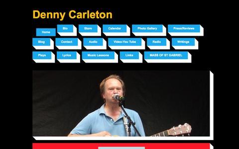 Screenshot of Home Page dennycarleton.com - Denny Carleton | singer songwriter,guitar teacher | Home - captured Oct. 19, 2015