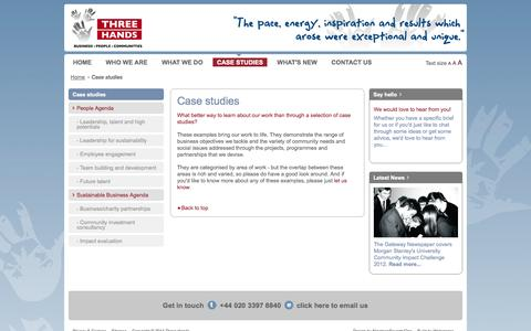 Screenshot of Case Studies Page threehands.co.uk - Case Studies : Address Business Objectives Through Real-life Projects - captured Oct. 1, 2014