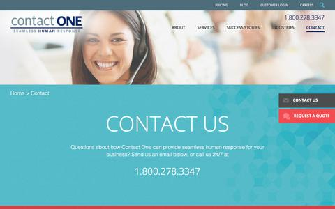 Screenshot of Contact Page wetakecalls.com - Contact One Call Center   Arizona Call Centers, Tucson Call Centers - captured Aug. 28, 2017
