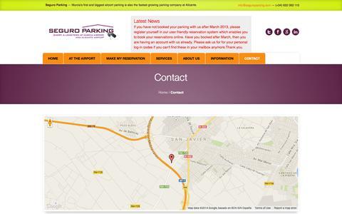 Screenshot of Contact Page seguroparking.com - Contact   Seguro Parking - captured Sept. 30, 2014