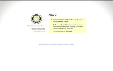 Screenshot of Login Page ceinternacional.org - CEI :: Miembro - captured Oct. 2, 2014