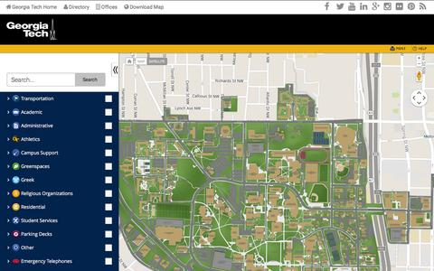 Screenshot of Maps & Directions Page gatech.edu - GT | Georgia Institute of Technology - Campus Map - captured Dec. 3, 2015