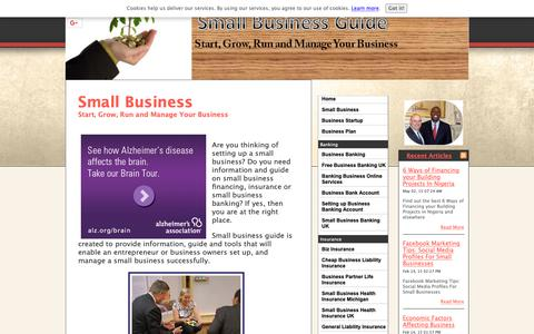 Screenshot of Home Page small-business-guide.com - Small Business   Setup and Manage Your Business - captured Oct. 19, 2018