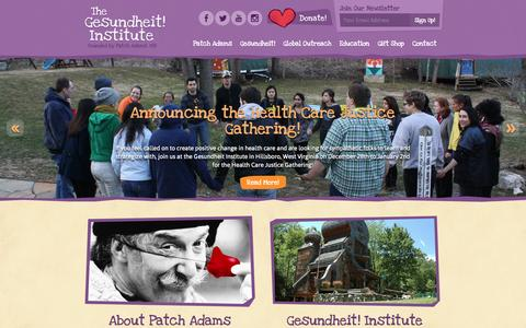 Screenshot of Home Page patchadams.org - Gesundheit! Institute Home - Gesundheit! Institute - captured Oct. 2, 2014