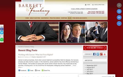 Screenshot of Blog justiceatwork.com - Blog - Atlanta Employment Lawyer - captured Oct. 10, 2017
