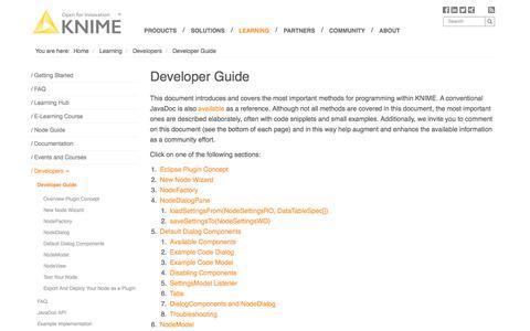 Screenshot of Developers Page knime.com - Developer Guide | KNIME - captured Oct. 16, 2017