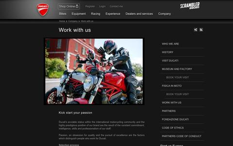 Screenshot of Jobs Page ducati.com - Ducati Job Opportunities, theses, work experience and internships - captured Nov. 8, 2016