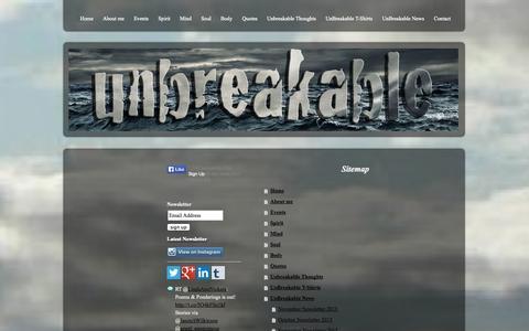 Screenshot of Site Map Page beunbreakable.com - Sitemap - Website of Beunbreakable with original and inspiring spoken word poetry and quotes - captured Sept. 26, 2014