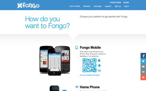 Screenshot of Home Page fongo.com - Free Mobile Long Distance Calling and Text – Start Using Fongo to Call and Text Free Across Canada - captured Sept. 19, 2014
