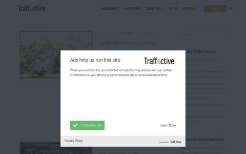 Screenshot of Blog traffective.com - Blog | Traffective | Monetization Platform for Publisher - captured Sept. 22, 2018