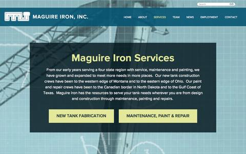 Screenshot of Services Page maguireiron.com - Maguire Iron Services - captured Oct. 4, 2014