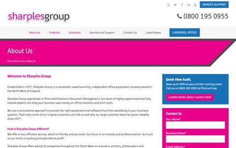 Screenshot of About Page sharplesgroup.com - About Us | Sharples Group - captured Oct. 20, 2018