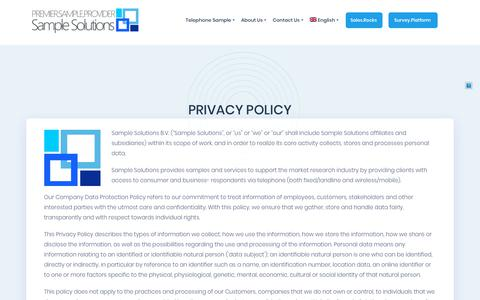 Screenshot of Privacy Page sample.solutions - Privacy Policy - Sample Solutions - captured Dec. 17, 2018