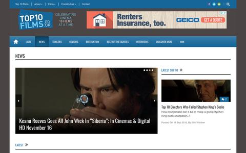 Screenshot of Press Page top10films.co.uk - News - Top 10 Films - captured Sept. 21, 2018
