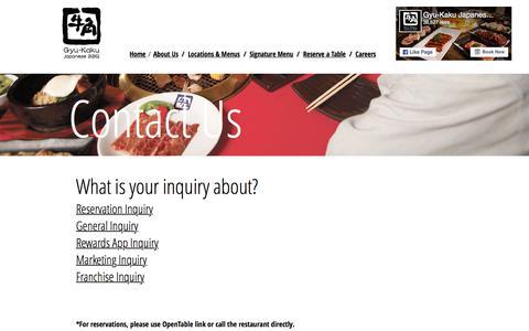 Screenshot of Contact Page gyu-kaku.com - Gyu-Kaku Japanese BBQ   Contact Us - captured June 25, 2017