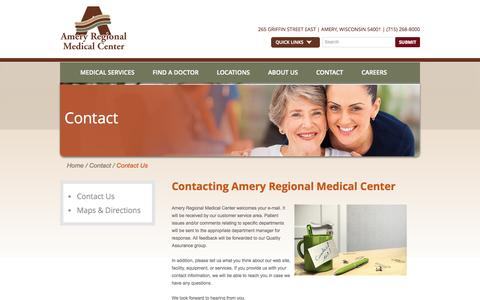 Screenshot of Contact Page Hours Page amerymedicalcenter.org - Contact | Hours | Directions | Amery Regional Medical Center - captured Oct. 4, 2014
