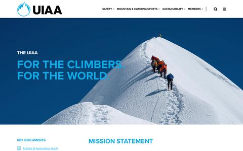 Screenshot of About Page theuiaa.org - About – UIAA - captured Oct. 19, 2018