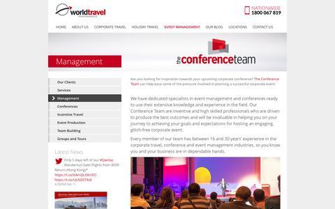 Screenshot of Team Page worldtravel.com.au - The Conference Team - Management - captured Feb. 15, 2016