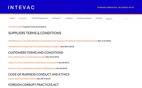 Screenshot of Terms Page intevac.com - Intevac Corporation | Suppliers Terms and Conditions - captured Aug. 6, 2016