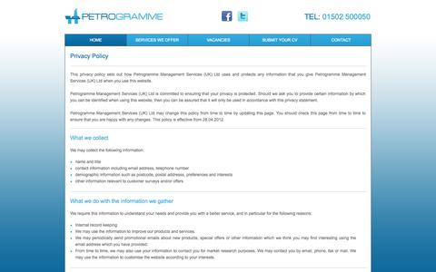 Screenshot of Privacy Page petrogramme.co.uk - Petrogramme - Privacy Policy - captured Sept. 29, 2014