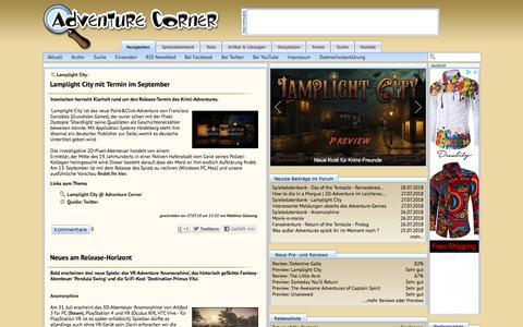 Screenshot of Home Page adventurecorner.de - Adventure Corner - News - captured July 29, 2018