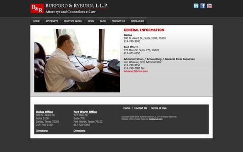 Screenshot of Contact Page brlaw.com - GENERAL INFORMATION | - captured Oct. 5, 2014