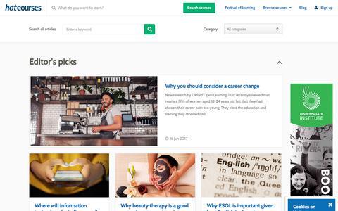 Screenshot of Blog hotcourses.com - Latest Articles on Hotcourses - captured June 21, 2017