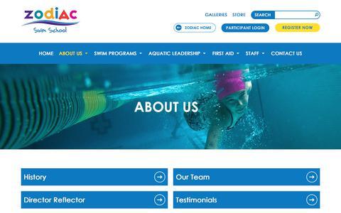 Screenshot of About Page zodiackids.ca - About Us   Zodiac Swim School Toronto, Canada - captured Nov. 30, 2017