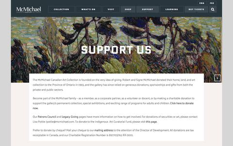 Screenshot of Support Page mcmichael.com - Support Us – McMichael Canadian Art Collection - captured Oct. 4, 2017