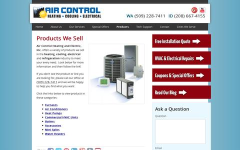 Screenshot of Products Page aircontrolspokane.com - Products We Sell | Air Control Heating and Electric, Inc. - captured March 3, 2016