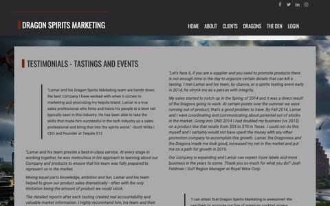 Screenshot of Testimonials Page dragonspiritsmarketing.com - Dragon Spirits Marketing | Tastings in Texas - Dragon Spirits Marketing - Demos and Tastings in Texas - captured Oct. 9, 2018