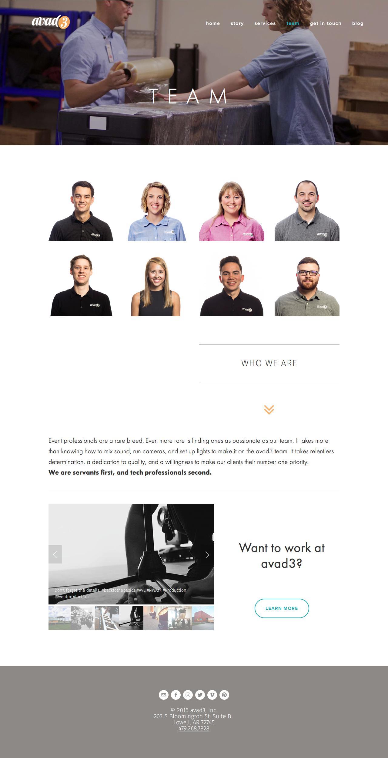 Screenshot of avad3.com - Team — avad3 - captured Nov. 21, 2016