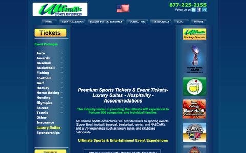 Screenshot of Home Page ultimatesportsadventures.com - Ultimate Sports Tickets, Luxury Suites Packages & Skyboxes - captured Nov. 17, 2018
