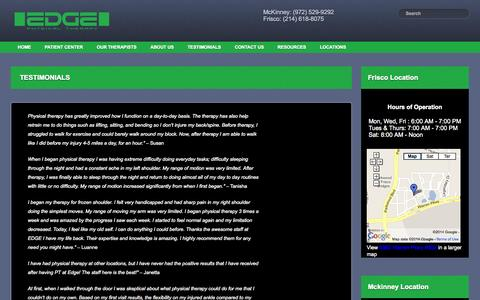 Screenshot of Testimonials Page edgetherapy.net - Testimonials | Edge Physical Therapy - captured Oct. 1, 2014